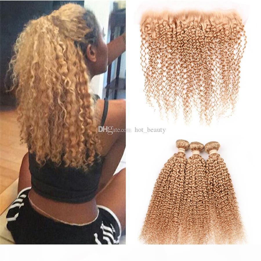 Kinky Curly Brazilian Honey Blonde Virgin Human Hair 3 Bundles Deals with Frontals 4Pcs Lot #27 Strawberry Blonde 13x4 Full Lace Frontal