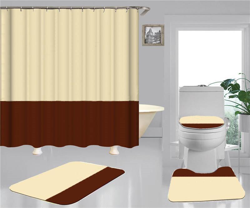 간단한 프린트 샤워 커튼 세트 Hipster 고급 4 조각 정장 욕실 Anti-Peeping 미끄럼 방식 탈취제는 목욕 화장실 매트 야.