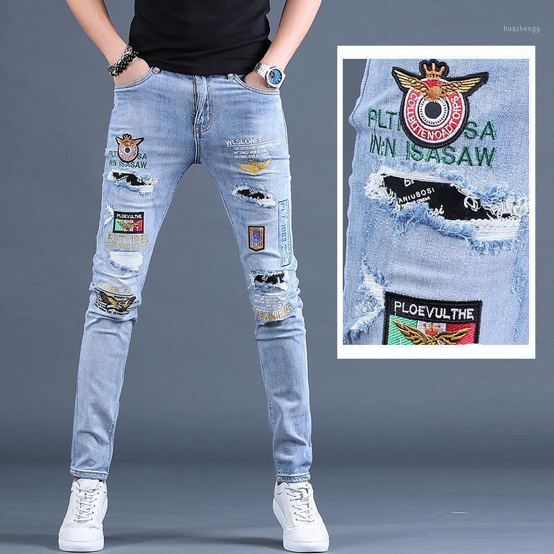 Мужские джинсы Летние тонкие вышитые мужские брюки с разорванными штанами Skinny Men1