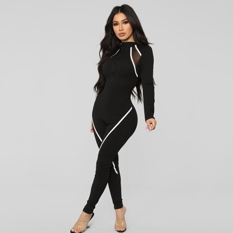 Fitness Casual Sporty Rompers Womens Jumpsuit Long Sleeve Patchwork 2021 Autumn Workout Active Wear Jumpsuits Push Up