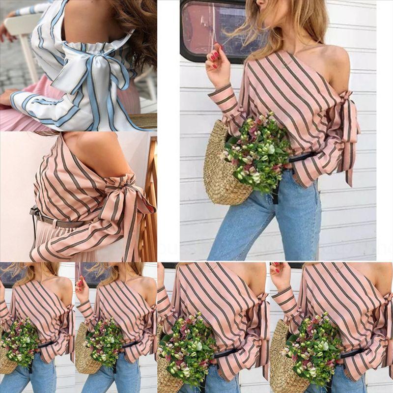 RWG 2019 Sublant Hombro Lace Up Diseñador Fashion Fashion For Women 2019 Slant Shirt Hombro Encaje Encaje Stripe Camisa de moda para