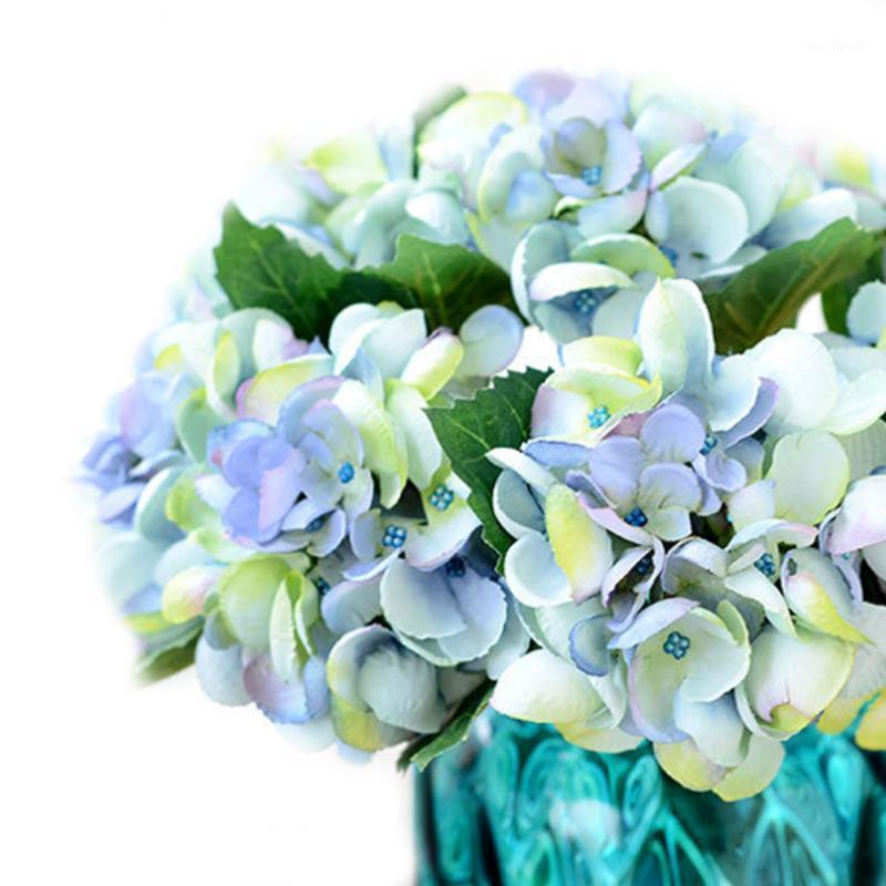 Nuevo estilo francés Rose 1 Ramo Flores artificiales Decoración de bodas Sala de arreglos Hydrangea Flores artificiales1