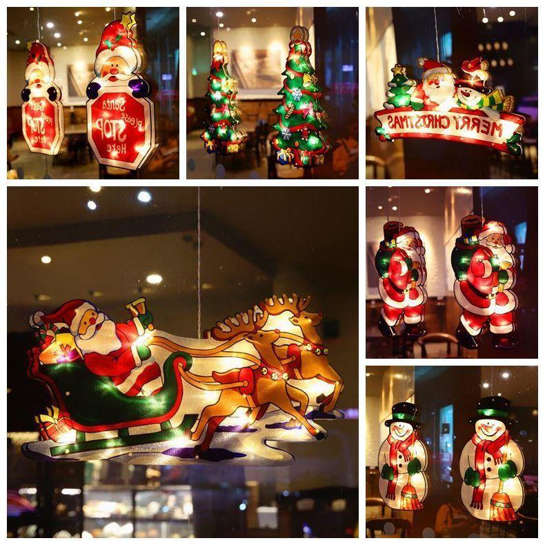 Natale ventosa ornamento finestra luce natale motivi atmosfera scena vetrina vetrina led succhiatrice lampada appeso luci decorazione all'ingrosso