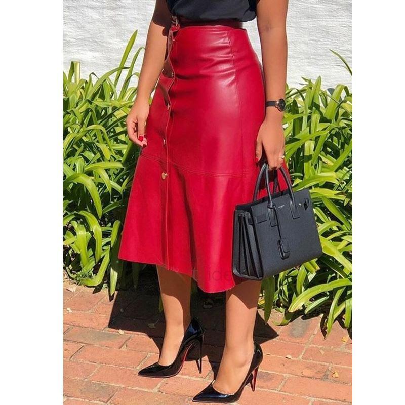 PU in pelle autunno autunno streetwear casual ufficio wear wear bodycon a-line skirt vita alta vita gonne lunghe vestito da donna