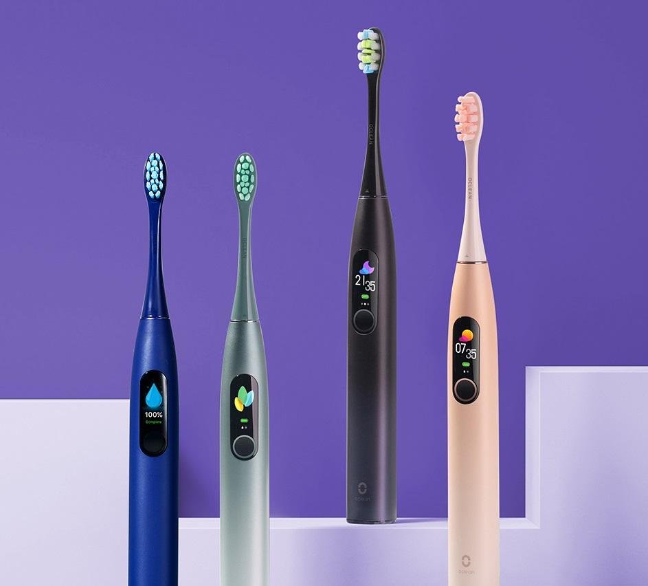 Global Version Oclean X Pro Sonic Spazzolino elettrico Adulto IPX7 2-in-1 Porta caricatore Colore Touch Screen Spazzolino da denti Fast Charge FY8231