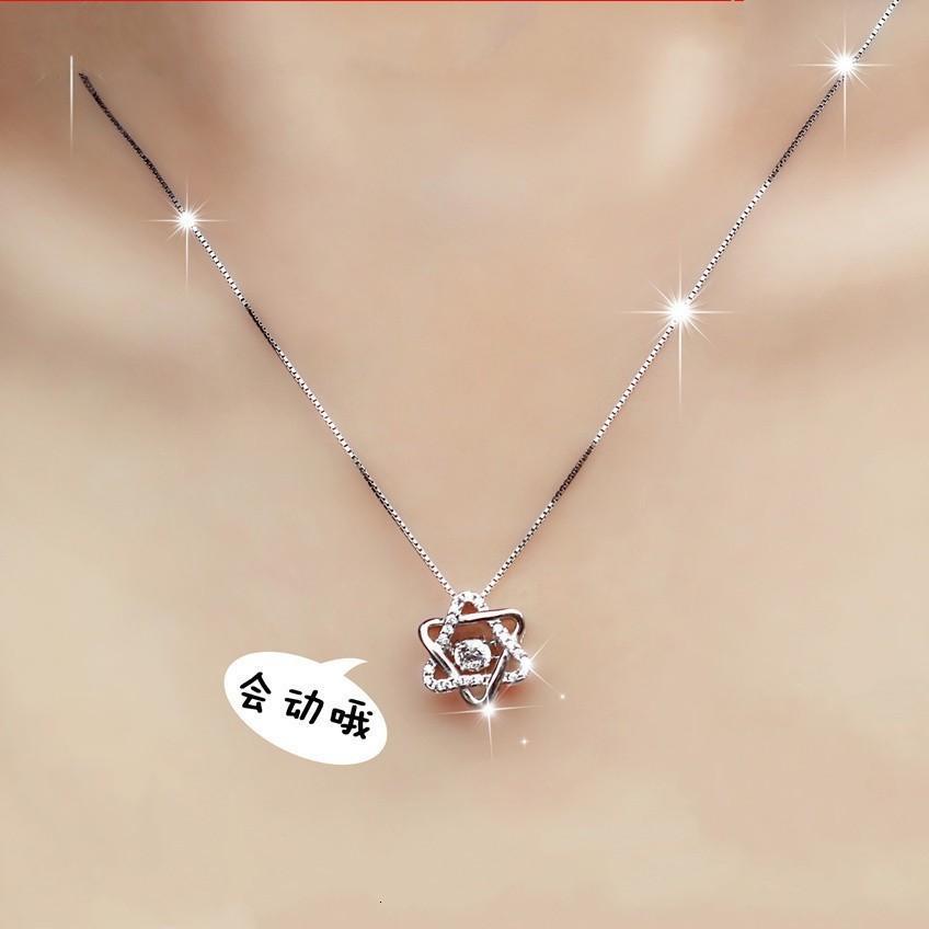 Sechs Tiktok-Halskette, Sterling Silber Kettendesign, roter Jitter, das gleiche Geschenk aus Japan und Südkorea.