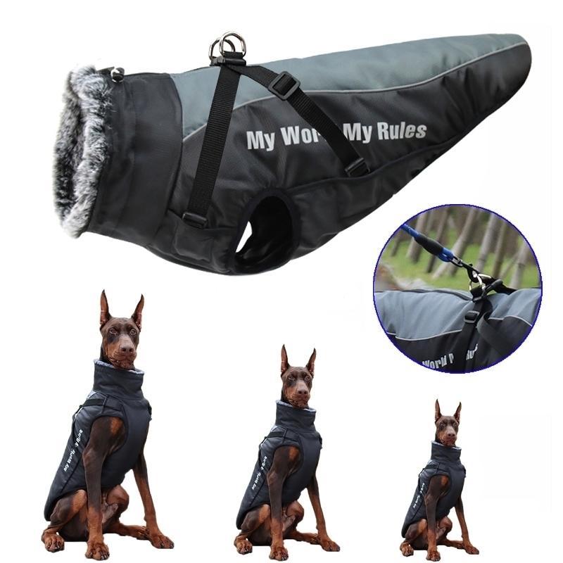 Abrigo grande impermeable para perros de invierno abrigo de perro con arnés peludo cuello caliente ropa mascota grande perro perro labrador bulldog traje 201126