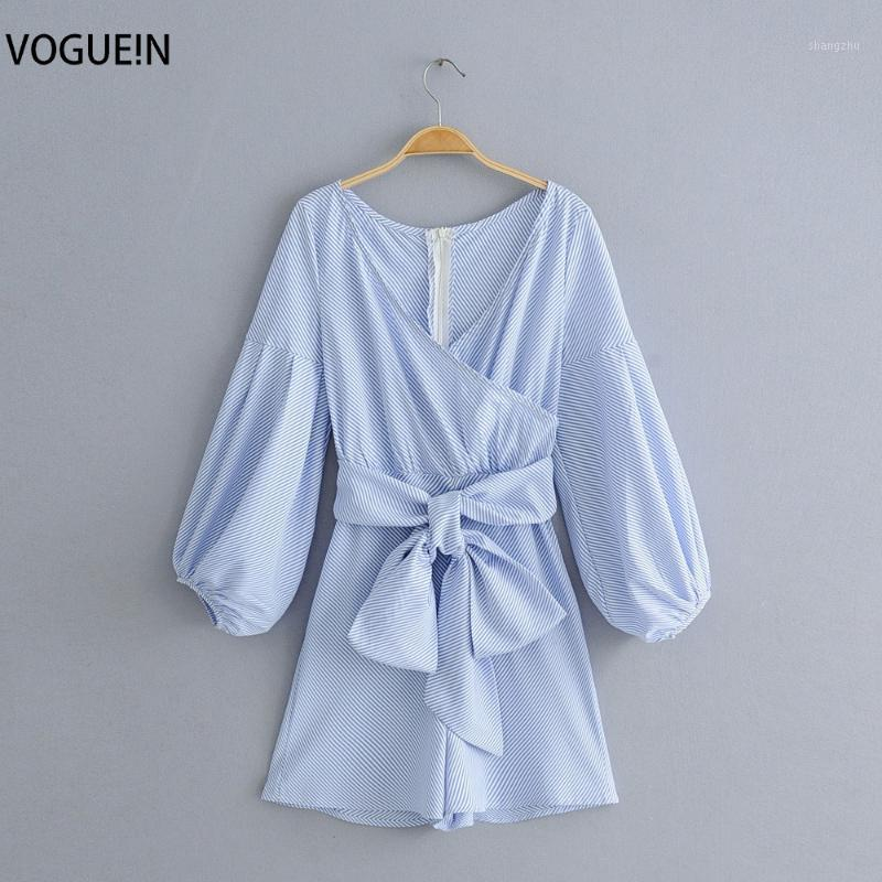 VOGUEIN New Womens Sexy V-Neck Striped Print Long Sleeve Bow Belt Jumpsuit Playsuit Wholesale1