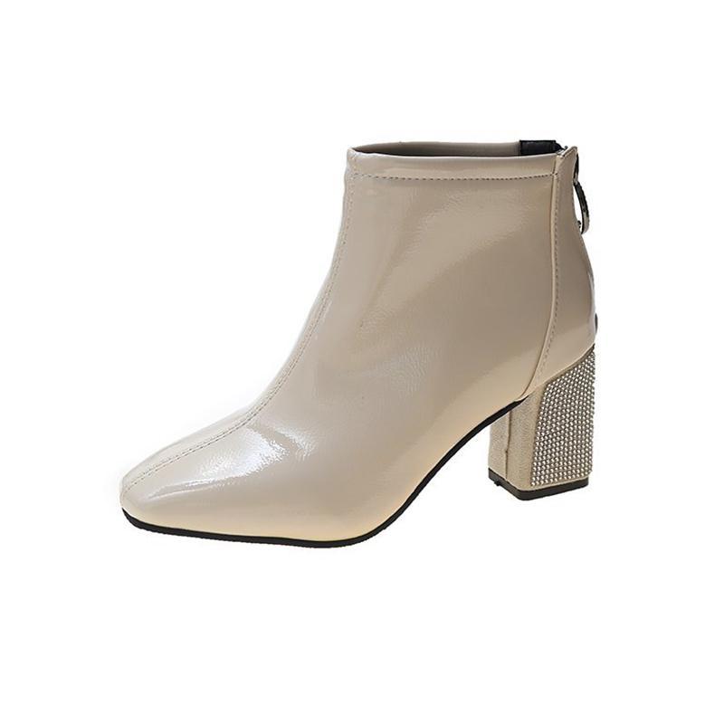 2021 O novo modo de cristal de pé quadrado alto Torozelo salto para mulheres negras Bege couro envernizado botinhas mujer outono vldg