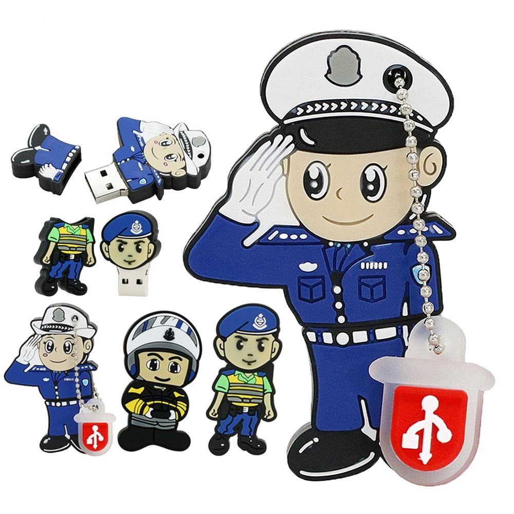 USB Stick 128GB Cartoon Police Model USB Flash Drive 32GB 64GB USB Flash Memory Stick Pendrive 256MB Pen Drive Gifts