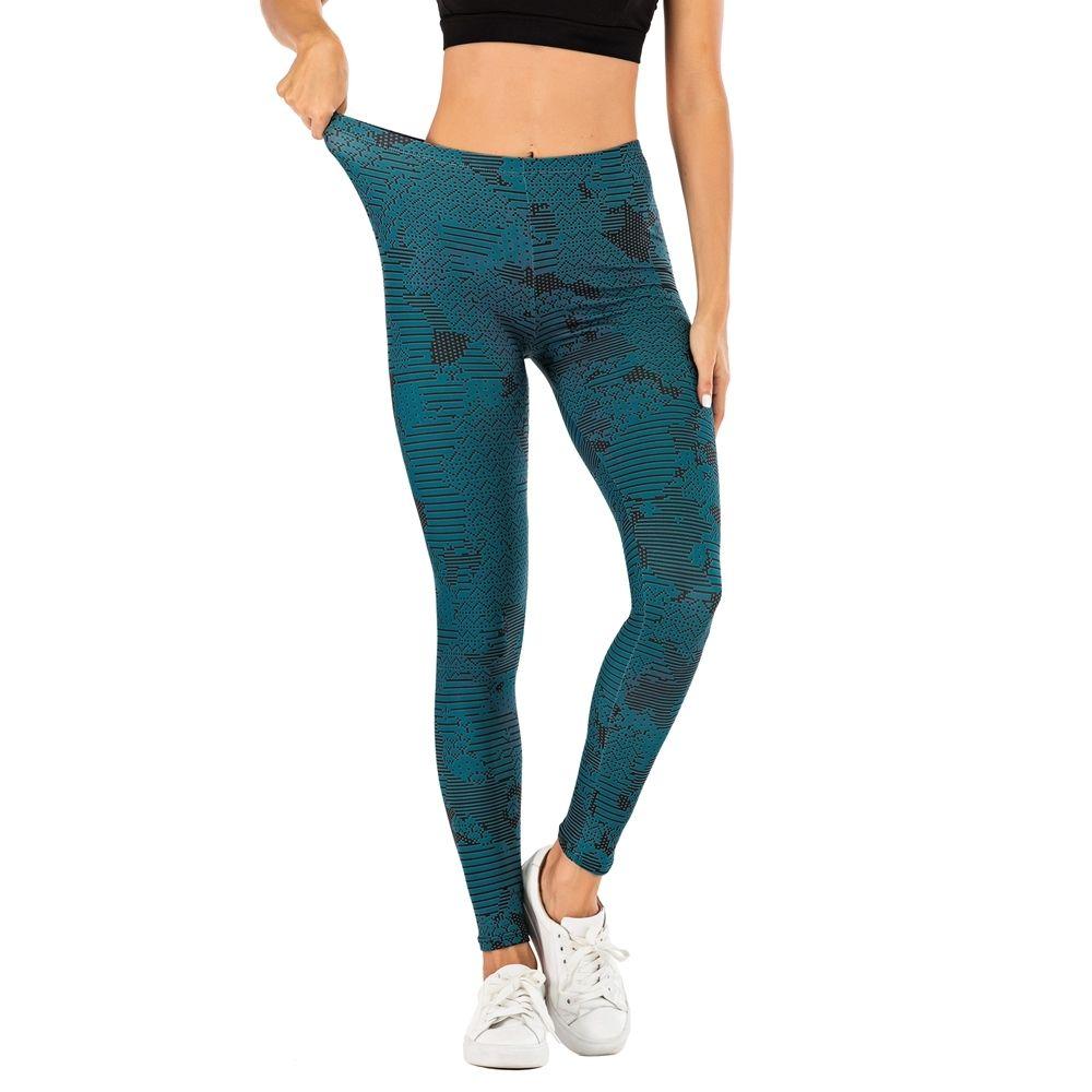 Marca Moda Mujer Pantalones Sexy Mujeres Legging Azul Azul Impresión Fitness Leggins Slim Legins Suave y Estás Estirar Leggings