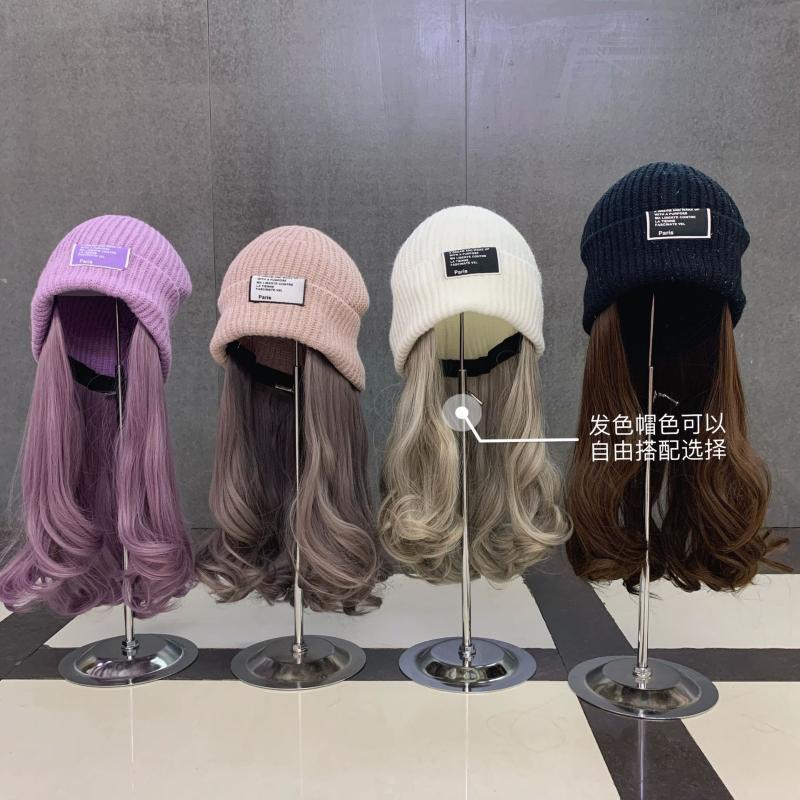 Sombrero de punto con pelo de color imaux para mujer Otoño Invierno Harajuku KPOP estilo coreano Streetwear Hat con peluca
