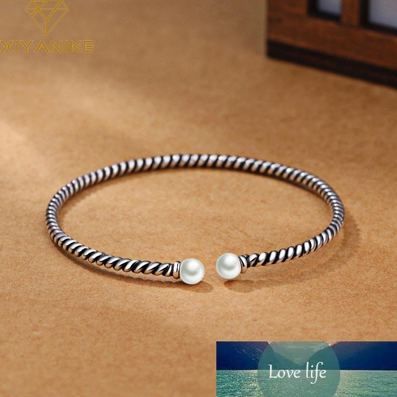 Урожай мода стерлингового серебра 925 ручной работы браслеты ручной работы браслеты для женщин модный элегантный жемчуг свадебные украшения