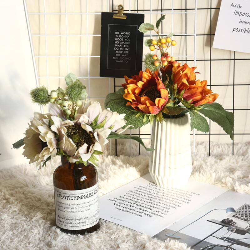Европейские подсолнечники симуляторы моделирования цветок производителей для дома украшения дома свадьба ручная стена растение стена поддельный цветок1
