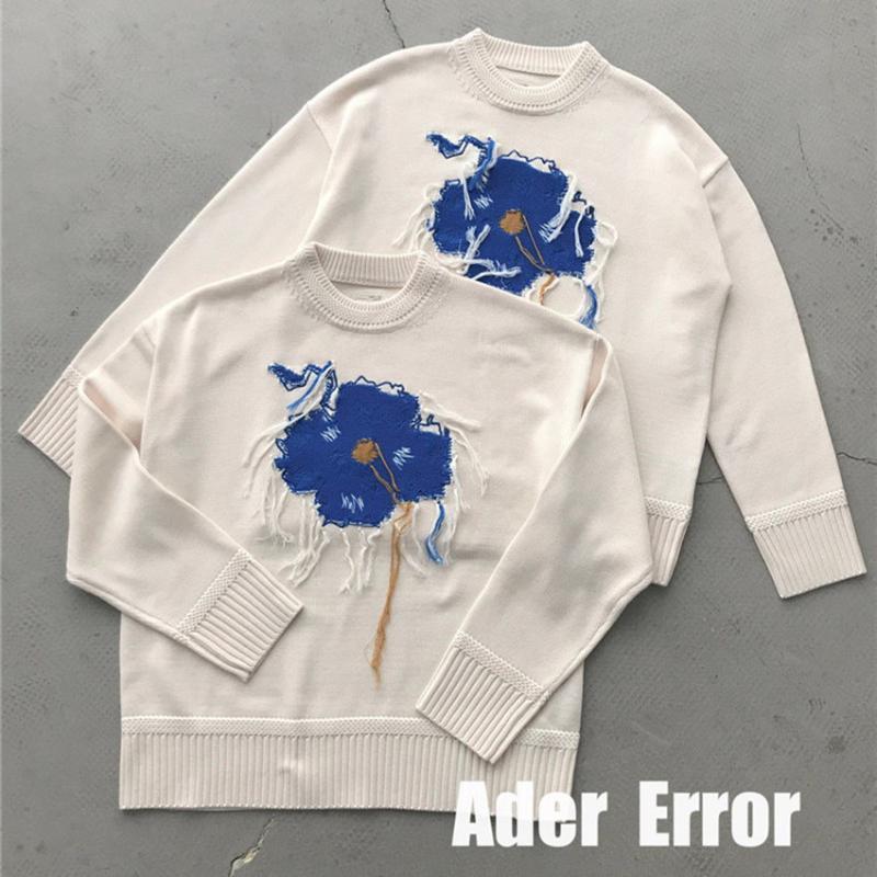 Blue Flower Broderie Jacquard Tassel Ader Erreur Sweaters Femmes Hommes en laine Abricot Adererror Tricoté Pullover