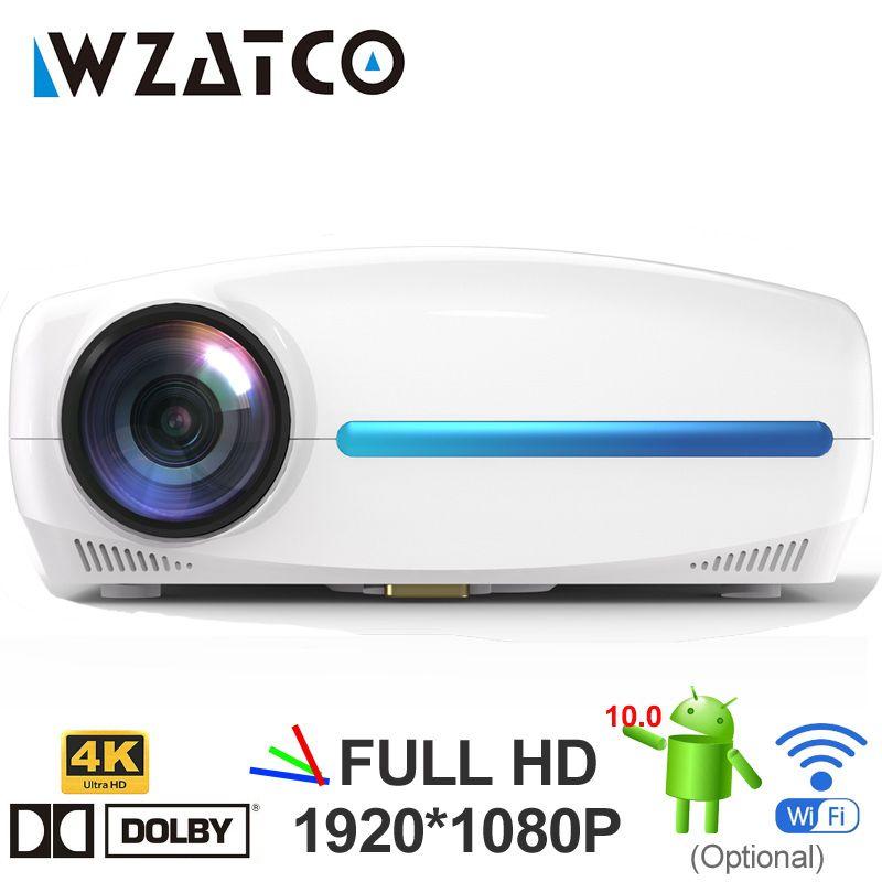 WZATCO C2 4K Full HD 1080P LED Projecteur LED Android 10 WiFi Smart Home Théâtre AC3 200Inch Video Proyector avec keySton numérique 4D
