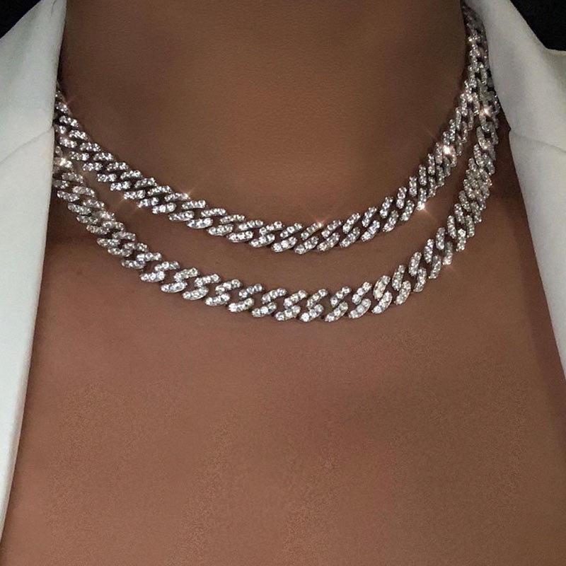 Flatfoosie Gold Silver Color Cleig of out Rhinestone Choker Женщины Bling Cuban Link Цепочка Crystal Ожерелье Хип-Хоп Ювелики 0927