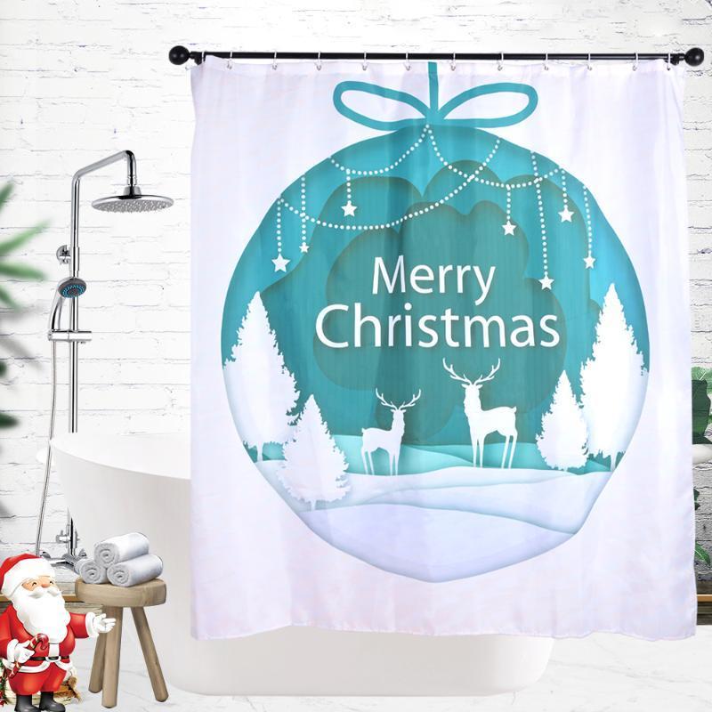 Trasferimento del magazzino con lavaggio dell'acqua Serie di Natale standard Elk Shower Curtain-1