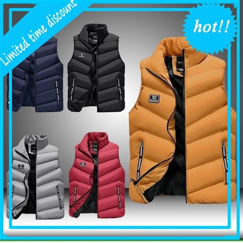 Homens embaláveis engrossam subindo colarinho molhado luz peso para baixo colete para gilet vestes hommes zip-up inverno roupas