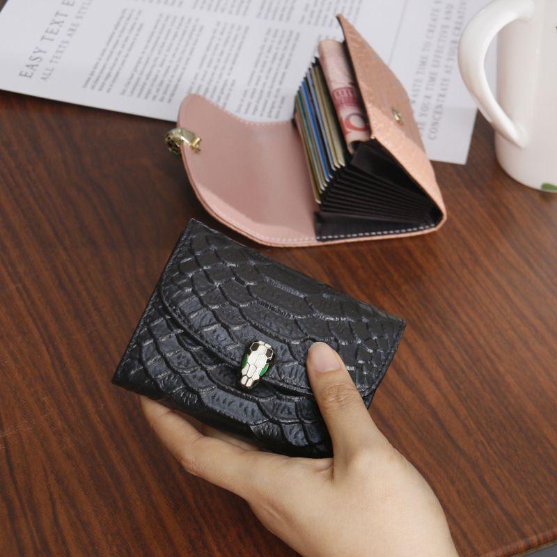 حامل بطاقات HBP المحافظ النساء متعدد البطاقات جلد أفعواني الأرجواني بت القصيرة رقيقة جدا لطيف الأعمال التجارية الصغيرة كوين أكياس بطاقة مقالة كبيرة المد والجزر