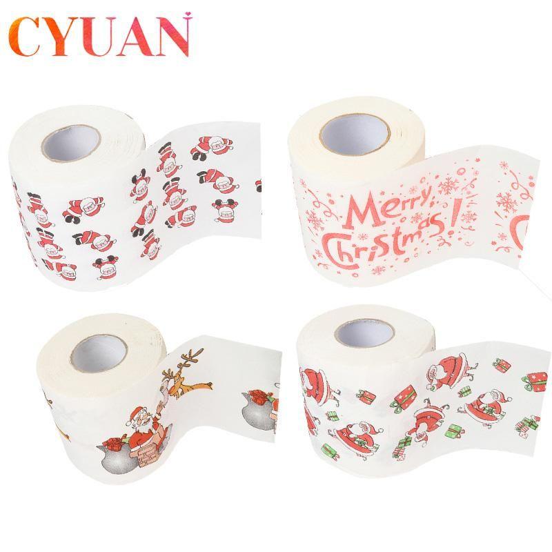 CYUAN Santa Claus Christmas Pattern Roll Paper Print Interesting Toilet Paper Table Kitchen Toilet Tissue Roll Xmas Decor