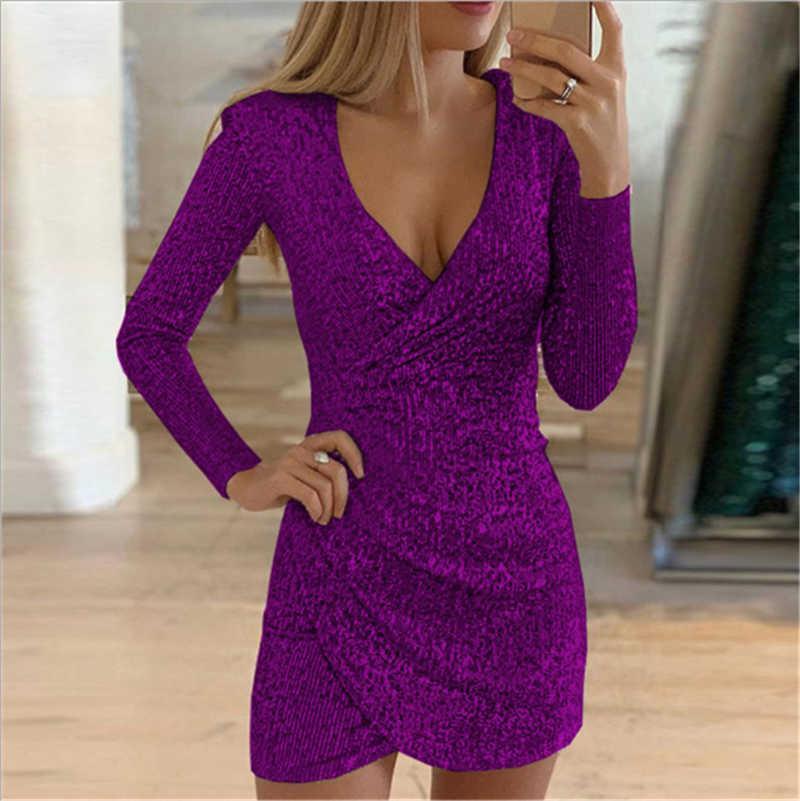Kadınlar için kalçalar üzerinde düzensiz payetler ile yeni Avrupa ve Amerikan sonbahar seksi V yaka elbise