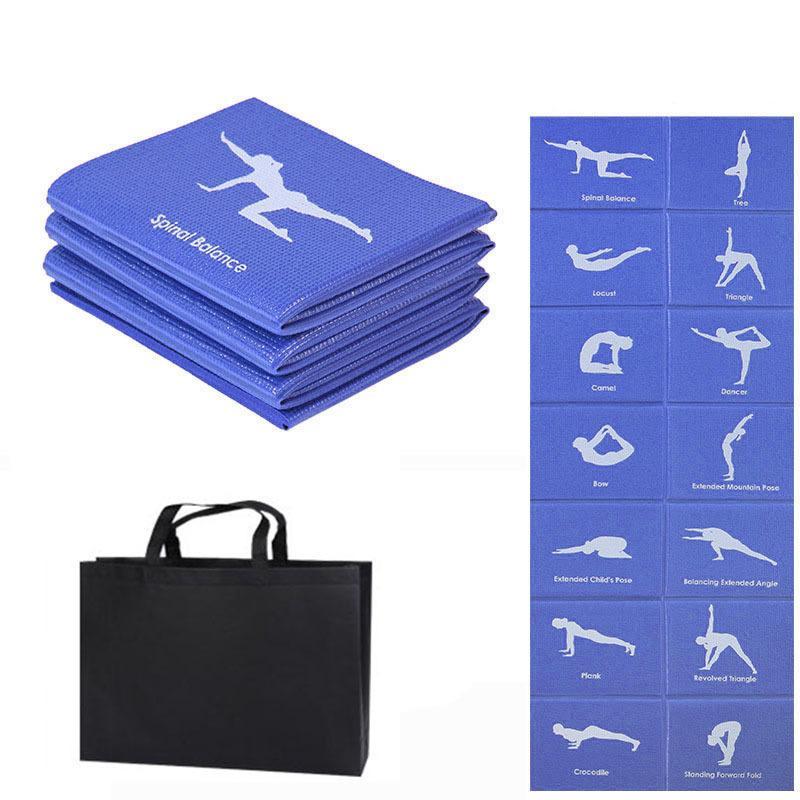 PVC plegable yoga estera ejercicio almohadilla de ejercicio grueso antideslizante plegable gimnasio fitness mat Pilates Supplies Play Play Mat LJ201218
