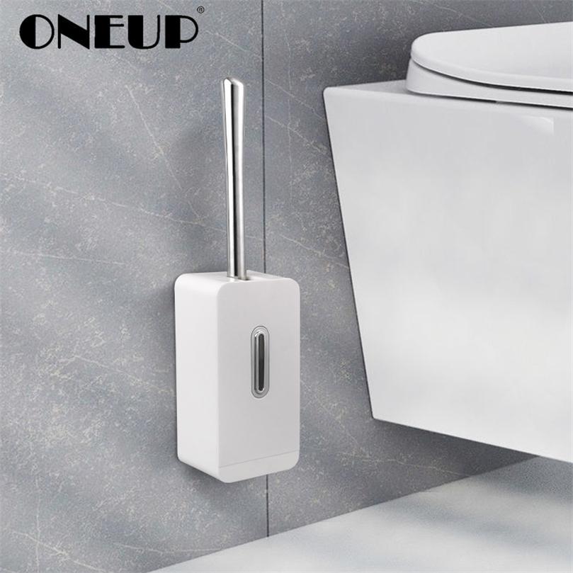 Oneup Criativo Ambiental Moderno Moderno Pincel de Longa Punho NAILLES NAILLESS Banheiro de parede Conjunto de limpeza Prego-Free Storage Box 201214