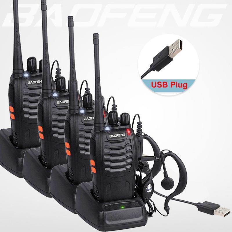 핫 4 개 / 많은 보풍 무전기 USB 충전 어댑터 BF-888S UHF 400-470MHZ 2 웨이 라디오 16CH 긴 범위와 보풍 earphoneLN