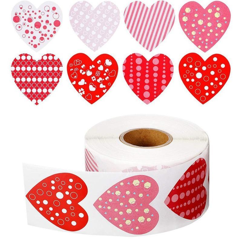 Liebe herzförmige aufkleber 8 muster 1 zoll rot klebstoff label valentinstag dichtung aufkleber hochzeitsparty liefert 4Yh j2