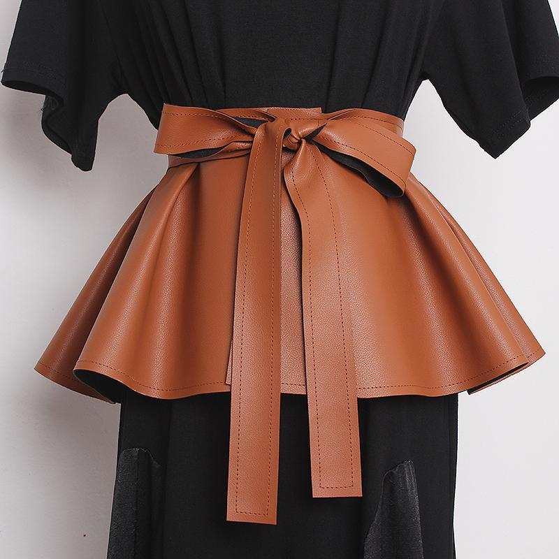 Moda das Mulheres Moda PU Couro CummerBunds Feminino Vestido Vintage Corsets Cintura Cintos Decoração Cinto Largo R3335 J1209