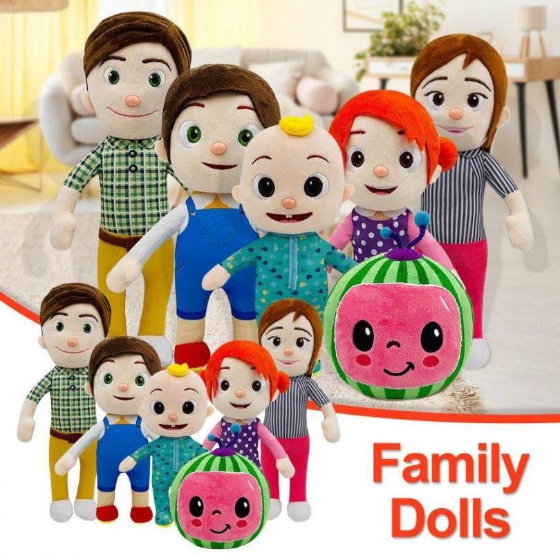 뜨거운 판매 cocomelon 봉제 장난감 소프트 만화 가족 코코 멜론 가족 자매 형제 엄마와 아빠 장난감 dall 키즈 Chritmas 선물 FY7339