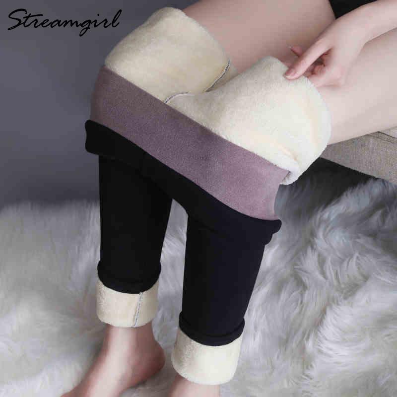 De espesor de terciopelo polainas Streamgirl 6% Spandex caliente mujeres del invierno más el tamaño de cintura alta Fleece legins Negro Slinny de Mujeres
