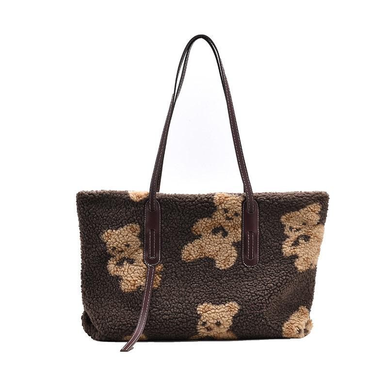 HBP Women Plush Tote Bag Kawaii Bear New Fashion Ladies Handbags Shoulder Casual White Bags Cute Gift for Kid Sister