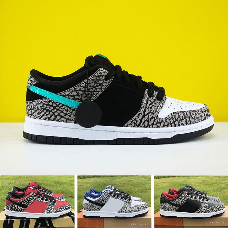 Nuova versione Dunks SB Elephant Skateboard Sneakers Sup rosso bianco nero cemento Mens scarpe da corsa Sport Zapatos Dimensione 40-46