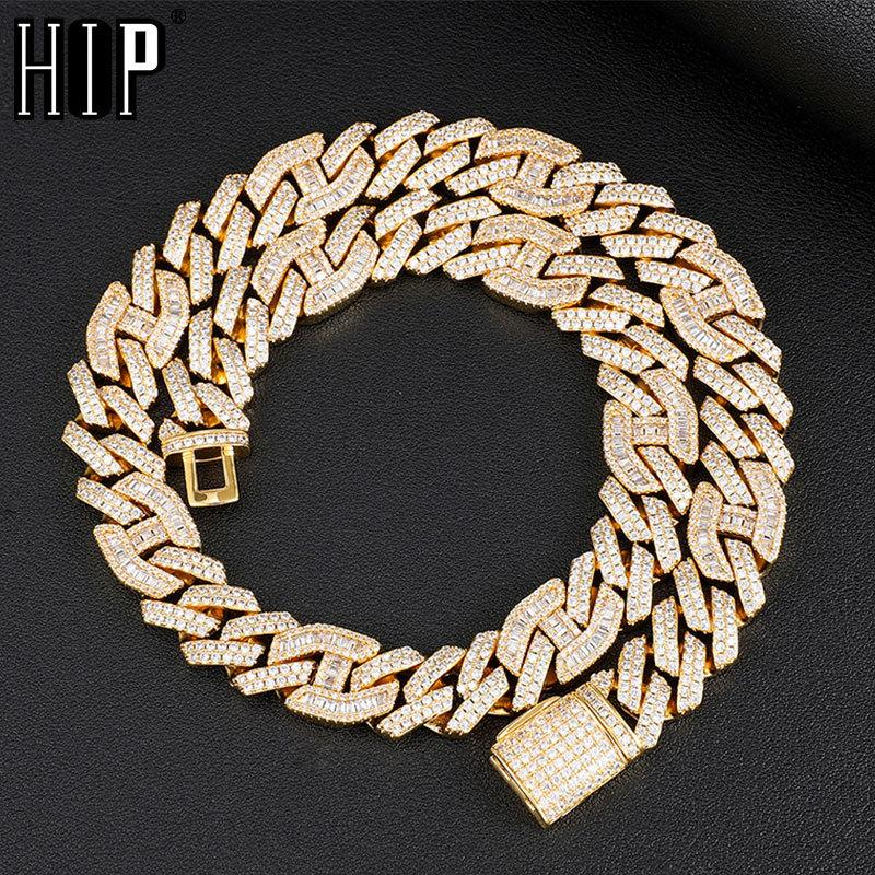 Hip Hop 14MM 2 Row Heavy Prong Baguette Curb Chain Iced Out Box Buckle Copper AAA+ Cubic Zirconia Gold Chain For Men JewelryQ0115