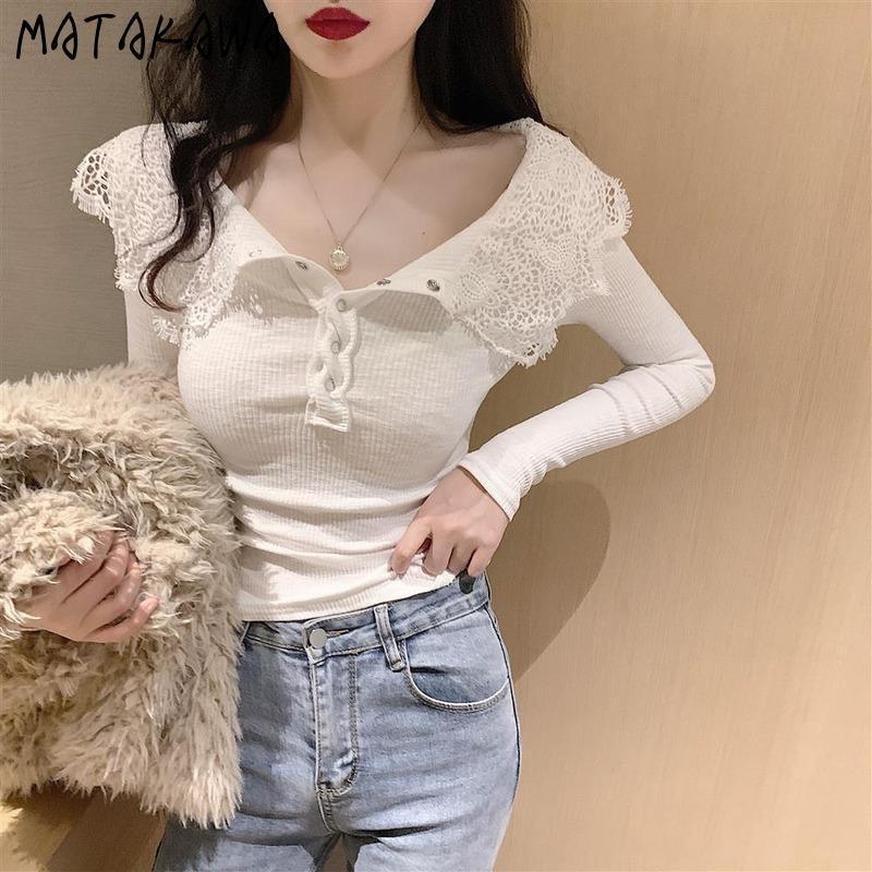 MATAKAWA 2021 Bahar Yeni Dantel Dikiş Kadın Tişörtleri Yaka Uzun Kollu Tişört Mizaç İnce Kısa Dip Top