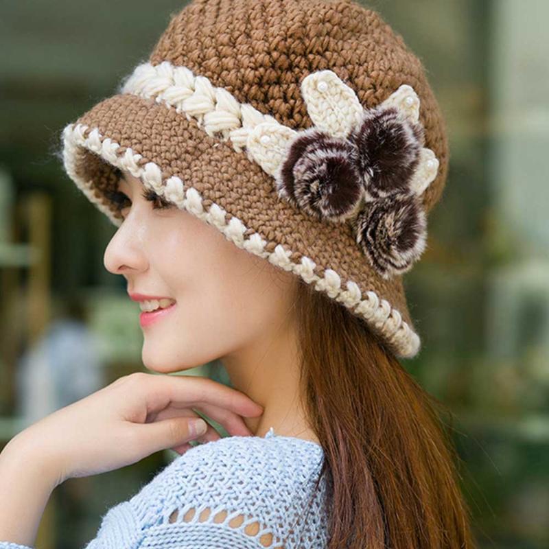 Damen Strickmütze Schal Caps Dame Neck Wärmer Winter Hüte Für Männer Frauen Gestrickte Blumen Mützen Warm Häkeln Fleecekappe