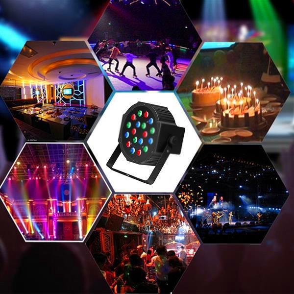 Venta caliente 30W 18-RGB LED AUTO / CONTROL DE VOZ DMX512 Lámpara de mini escenario de alto brillo (AC 110-240V) Luces de cabeza en movimiento regulables negras
