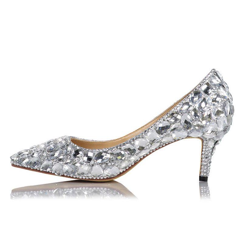 Женщины Bling роскошные белые свадебные бриллианты кристаллические бомбы проколотый прыжок котенок женские Zapatpos полная котенка самки женские туфли на каблуках BNO1