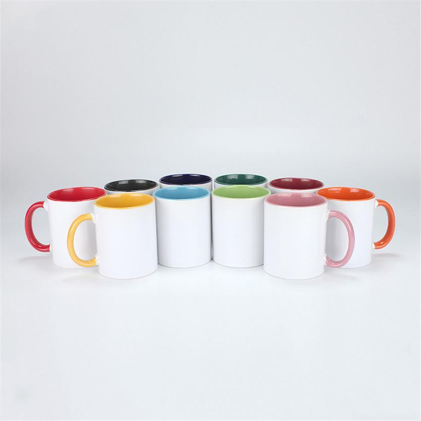 Sublimação caneca de café Multi cor 11oz sublimação de tumblers cerâmicos com punho tintura térmica transferência de transferência caneca A02