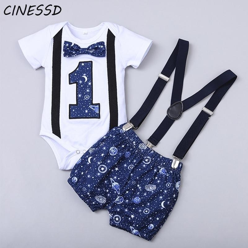 Baby Boy Одежда на один год день рождения новорожденного малыша малыш мальчики 1-й буква джентльмен день рождения ремб ремешками шорты детские наряды мальчика 201126