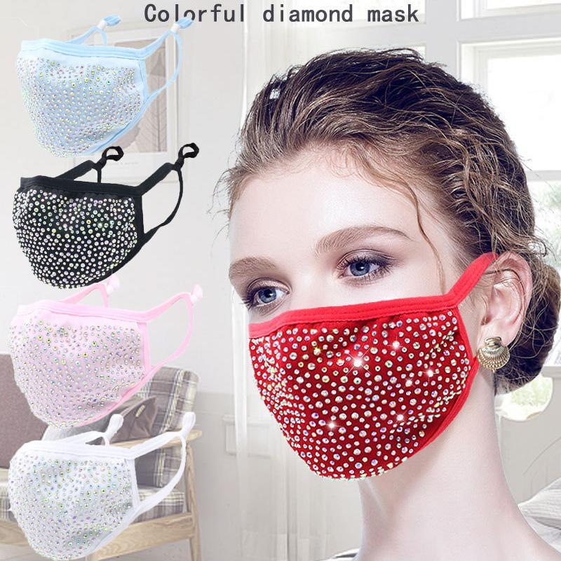 2021 Moda a prueba de polvo Máscara de la cara Bling Mascarilla protectora Diamond PM2.5 Mascaras de la boca Lavable Reutilizables Mujeres Colorido Rhinestones Facenas