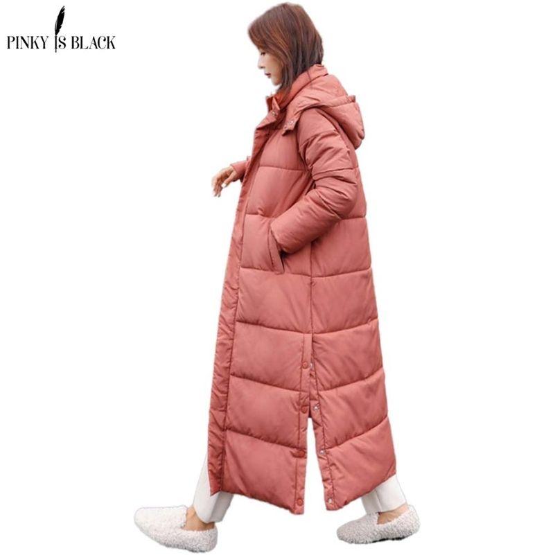 Pinkyisblack New Winter Women Chaqueta X-Long Capucha con capucha algodón acolchado femenino abrigo de invierno para mujer Parka de alta calidad Outwear Outwear 201217
