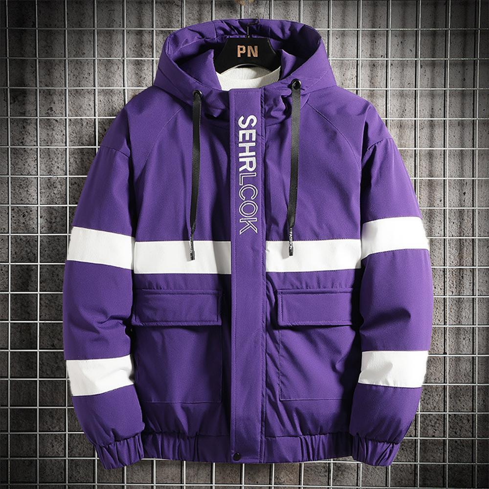 Homens Inverno Casaco acolchoado soprador jaqueta grossa Quente jaqueta com grandes bolsos Hip Hop Desgaste da rua Jacket Slim Fit Casual Brasão 201118