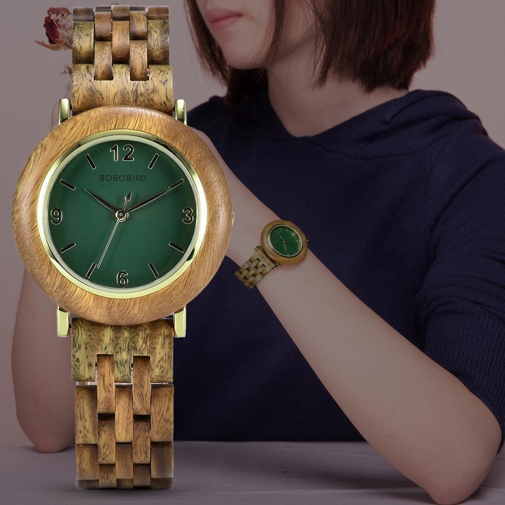 Zegarek Damski Bobo Bird Light Wood Wood Relojes Mujeres Reloj de Mujer Reloj de pulsera Regalo de aniversario de reloj para su dropshipping 201215