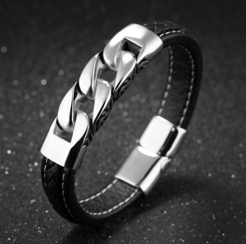 Bracciali di fascino Braccialetti in acciaio inox Bangles Uomo Gioielli in pelle 2021 Regalo per