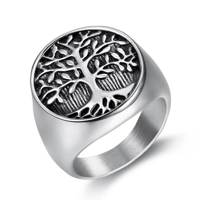 Venta al por mayor 10 PCS Árbol de acero inoxidable de la vida Anillo de dedo para el regalo de fiesta Tiger Animal Jewelry