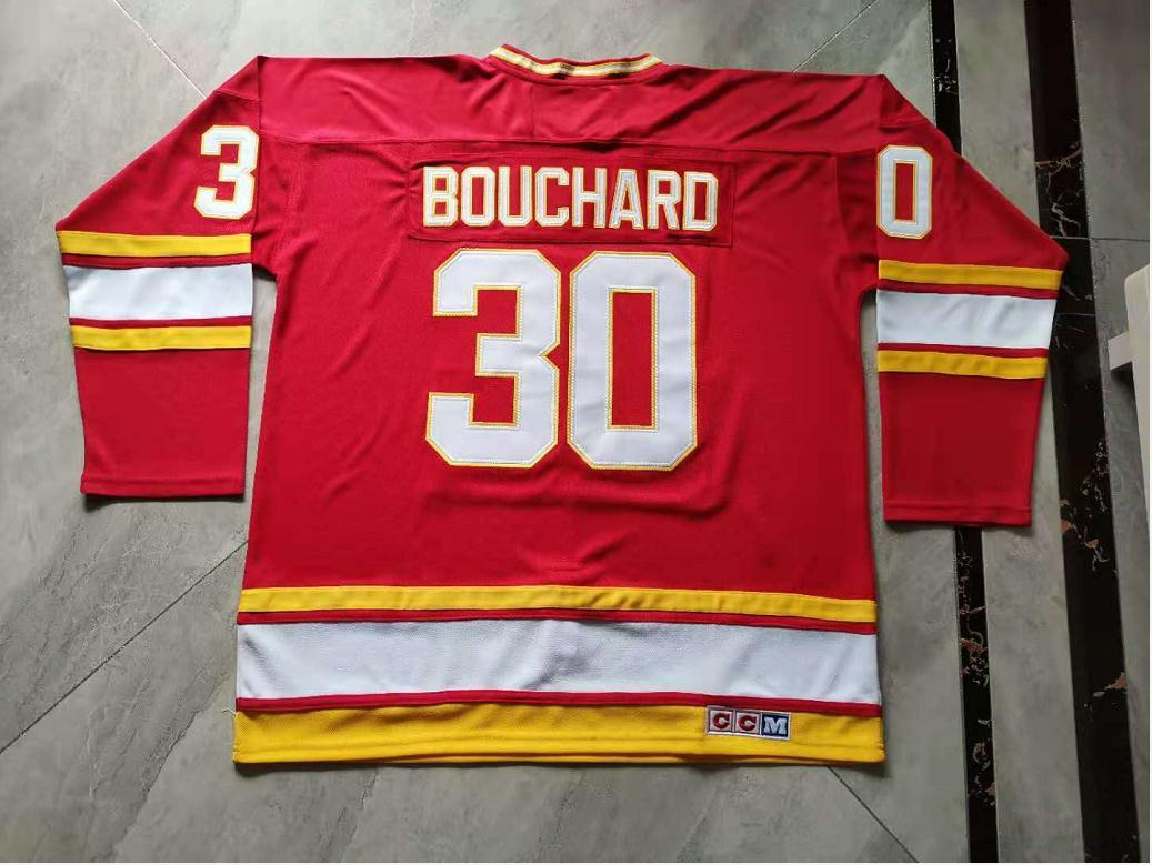 Homens personalizados As mulheres da juventude personalizam as chamas de Atlanta # 30 Daniel Bouchard Hockey Jersey Tamanho S-5XL