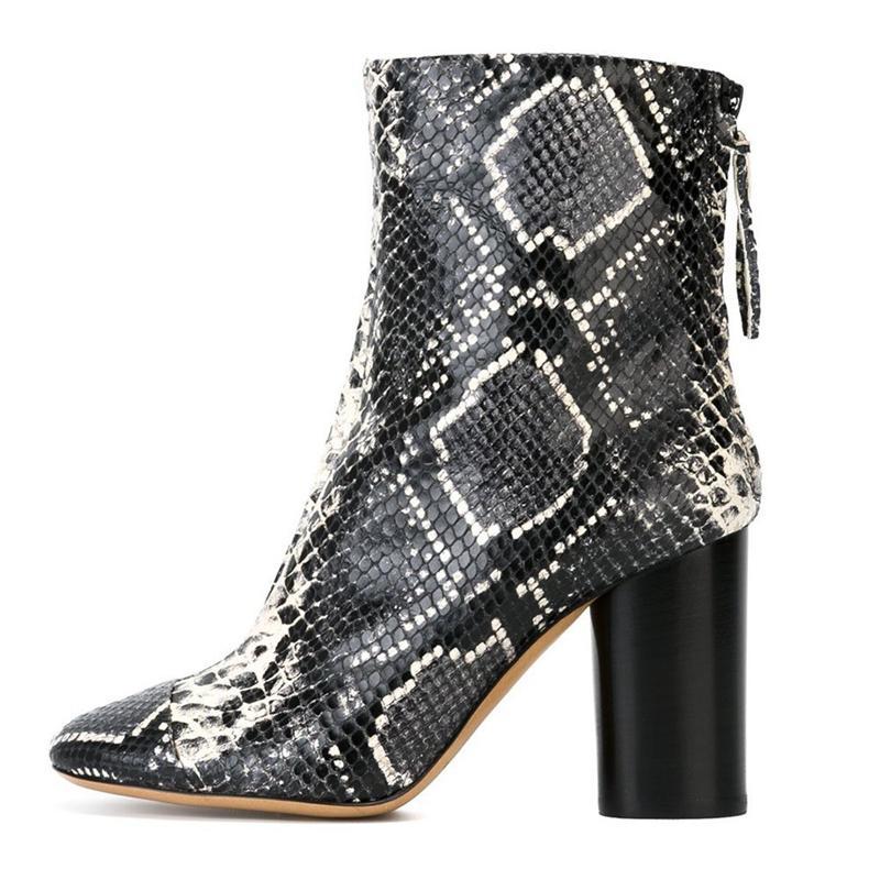 2020 Primavera Nuova caduta caviglia in pelle di Plutonio Square Shaped Shoes Ladies Short Stivali con cerniera Più taglia 46 TL-A0197 1QDH